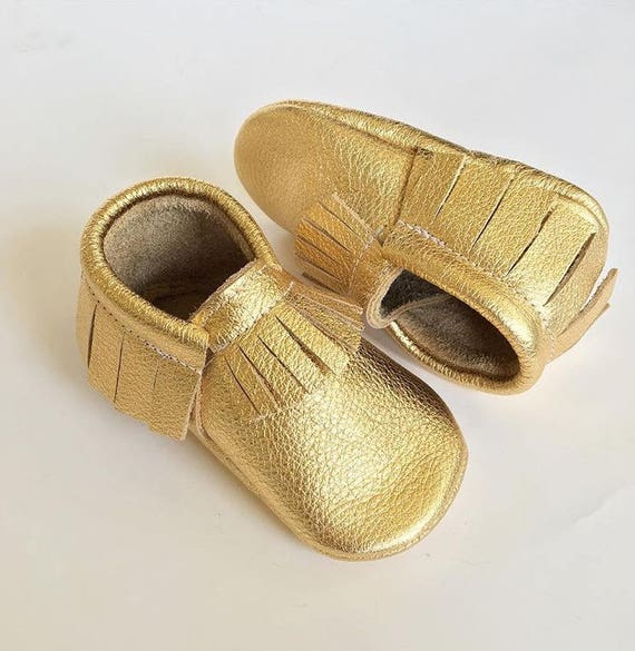 2edd2dcf2defb Gold Baby Moccasins...Baby Moccs...Moccasins