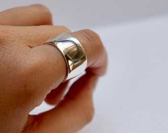 Wide Silver Band Jess Ring