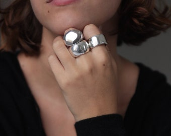 Earth Large Silver Statement Ring