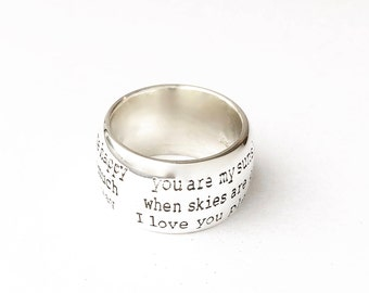 YOU A MY SUNSHINE Nursery Rhyme Ring . Solid Argentium silver