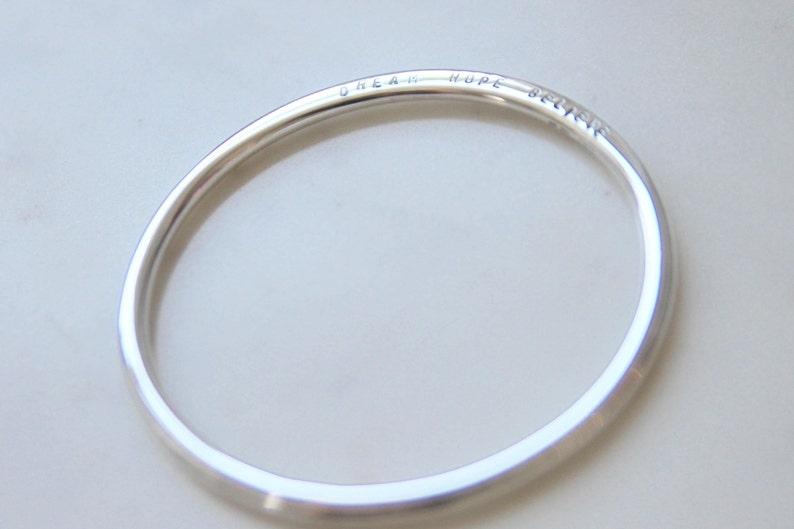 Hand Stamped Jewelry sterling silver bangle /'Venus/' fine jewellery Australia Personalized Bangle Bracelet