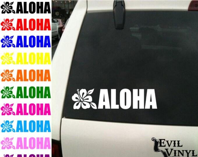 Aloha Decal Sticker Car Window Hawaiian Tropical Flower Hula Beach Art for iPhone Samsung iPad Tablet Laptop Case Vinyl ANY SIZE