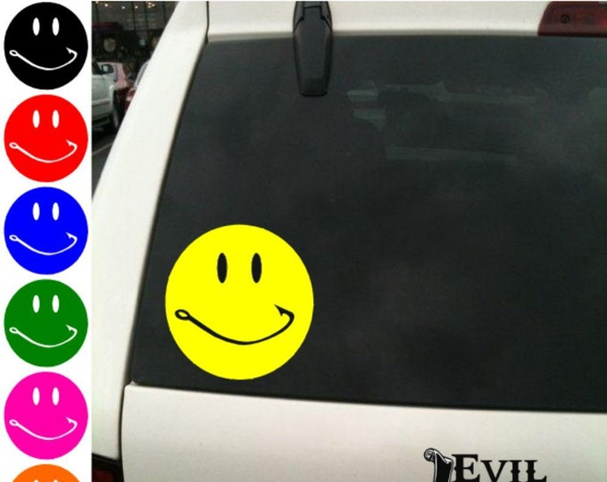 Smiley Hook Face Decal Sticker Car Window Fishing Hunting Funny iPhone Samsung iPad Tablet Laptop Vinyl ANY SIZE