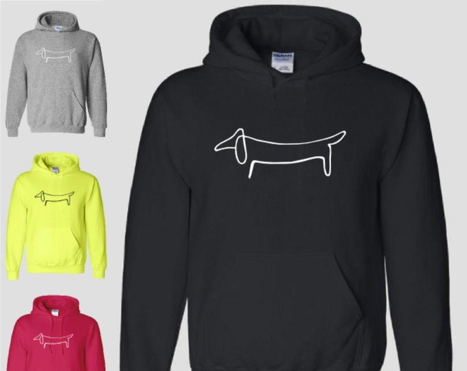 Dachshund Hoodie Picasso Art Drawing Weiner Dog Animal Cat Love Fun Awesome Hoody Hooded Sweatshirt Neon FREE SHIPPING