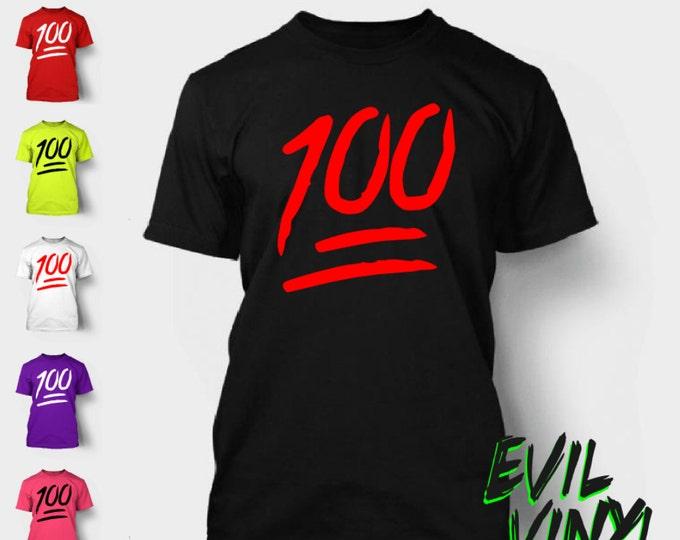 100 Emoji T-Shirt Funny Keep It Real Instagram Drake Nicki Minaj Future 100% On Point  Urban Tshirt Shirt Tee Neon FREE SHIPPING