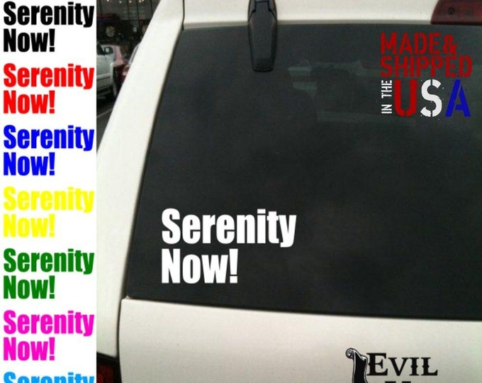Serenity Now! Decal Sticker Car Window Funny George Costanza Jerry Kramer TV Show 90's Gift Art iPhone Samsung Tablet Laptop Vinyl ANY SIZE