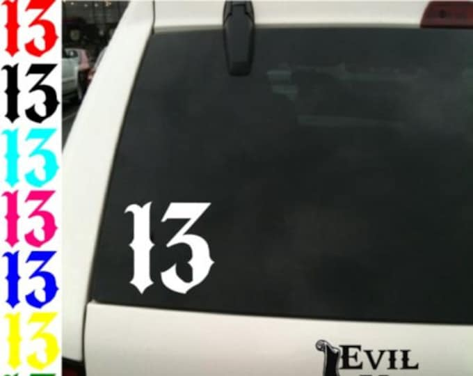 Lucky Number 13 Decal Sticker Car Window Motorcycle Tattoo Skateboard #Thirteen Punk Biker Samcro iPhone Samsung iPad Case Vinyl ANY SIZE