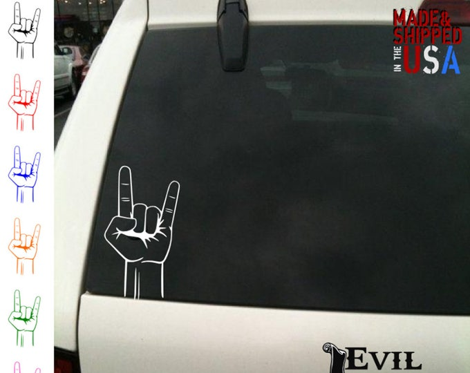 Rock On Hand Decal Sticker