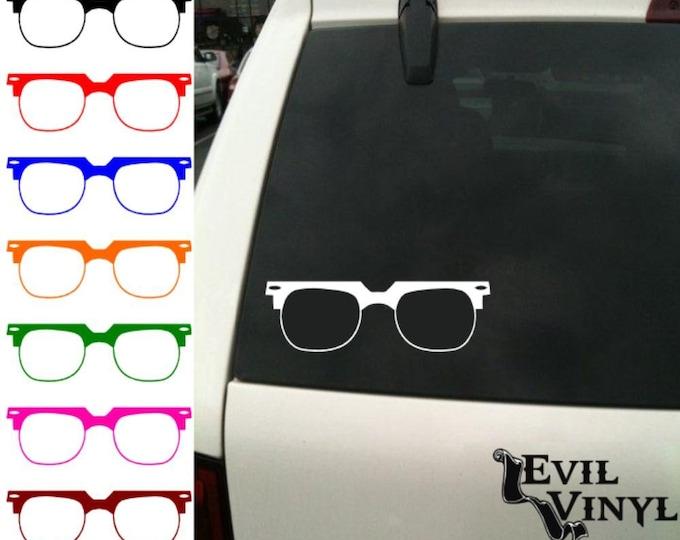 Vintage Glasses Vinyl Car Window Decal Retro Nerd Geek Dork Art Eyeglasses Stylish Hipster iPhone Samsung Case Sticker ANY SIZE