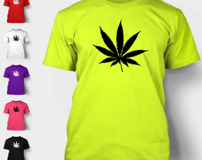 Pot Leaf T-Shirt Marijuana Weed Green Rasta 420 Hippy Legalize Cannabis Funny Love Smoke Grass Stoner Tee Shirt Tshirt Neon FREE SHIPPING