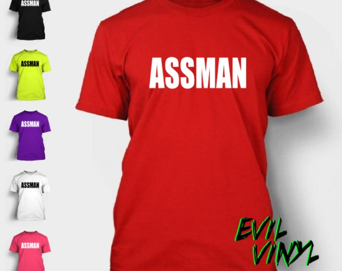 Assman TShirt Funny Kramer New York Love Booty Boob Butt Guy Ny License Plate Party 90's TV Show Shirt Tee T-shirt Neon FREE SHIPPING