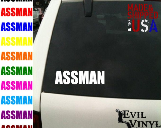 Assman Decal Vinyl Car Window Funny Truck Bumper Boob Butt Booty Love Mudflap Boat iPhone Samsung iPad Tablet Case Laptop Sticker ANY SIZE