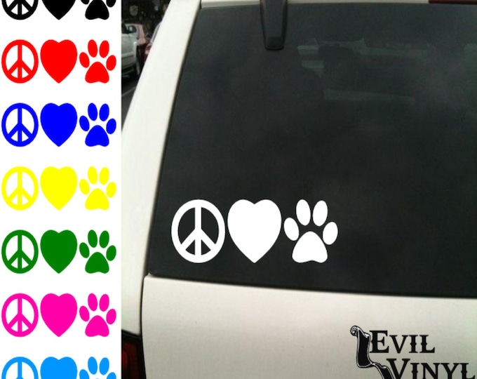 Peace Love Paw Decal Car Window Dog Cat Puppy Kitten Adopt Heart Cute Animal iPad Tablet Laptop Sticker Vinyl ANY SIZE