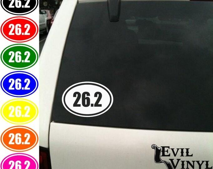 26.2 Marathon Oval Vinyl Car Window Decal Sticker 13.1 Half 10k 5k New York Boston Disney Run Triathlon Sports Athletic Euro Race ANY SIZE