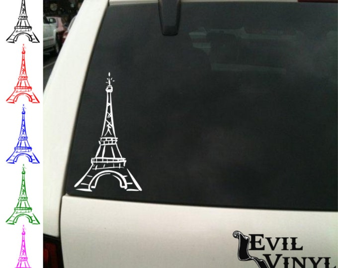 Eiffel Tower Decal Vinyl Car Window Laptop French France Paris European Beautiful Classic Peace Love Art iPhone Samsung Case Sticker ANYSIZE
