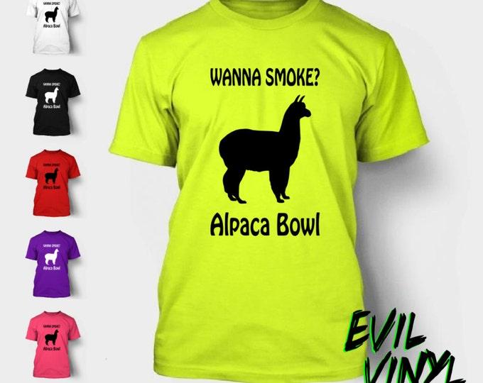 Alpaca Bowl T-Shirt Funny Pot Marijuana Weed Wanna Smoke Bob Marley Llama Farm Animal Legalize 420 Shirt Tee Shirt Neon FREE SHIPPING