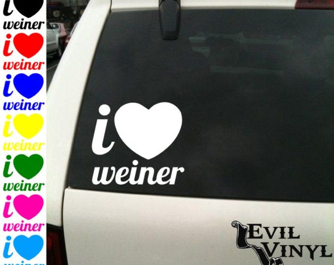 I Heart Weiner Vinyl Car Window Decal Funny Love Penis Dick Gay Straight Pride Party Prank Joke Dog iPhone Sansung Case Sticker ANY SIZE