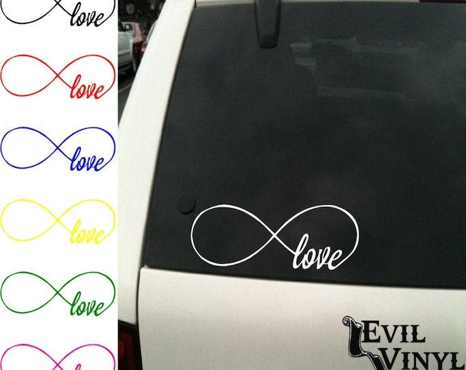 Love Infinity Vinyl Car Window Decal Loop Heart Knot Wedding Dog Family Valentine Art for iPhone Samsung Case iPad Laptop Sticker ANY SIZE