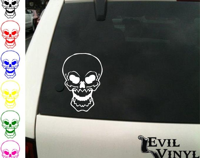 Skull #3 Decal Vinyl Car Window Laptop Sticker Motorcycle Tribal Anarchy Biker Pirate Joker Art for iPhone Samsung iPad Tablet Case ANY SIZE