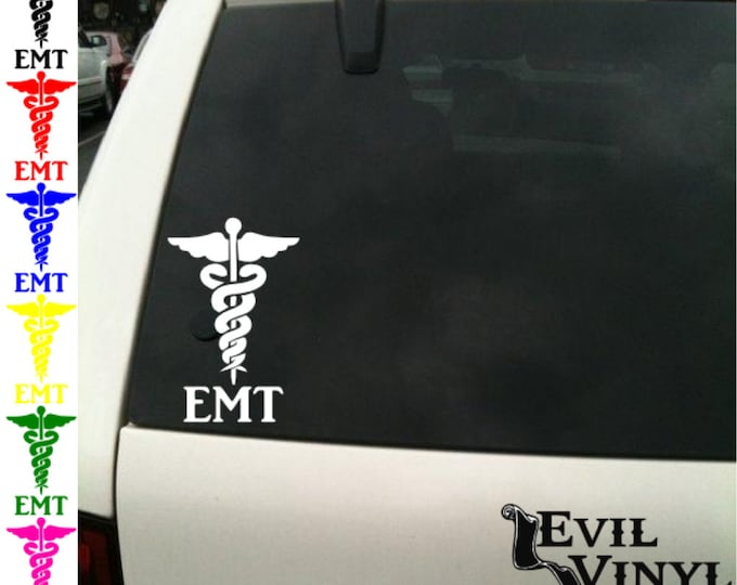 Caduceus EMT Vinyl Car Window Decal Nurse Love Pride Medic Rn Lpn Heart Support Healthcare Work Art for iPhone Samsung Case Sticker ANY SIZE