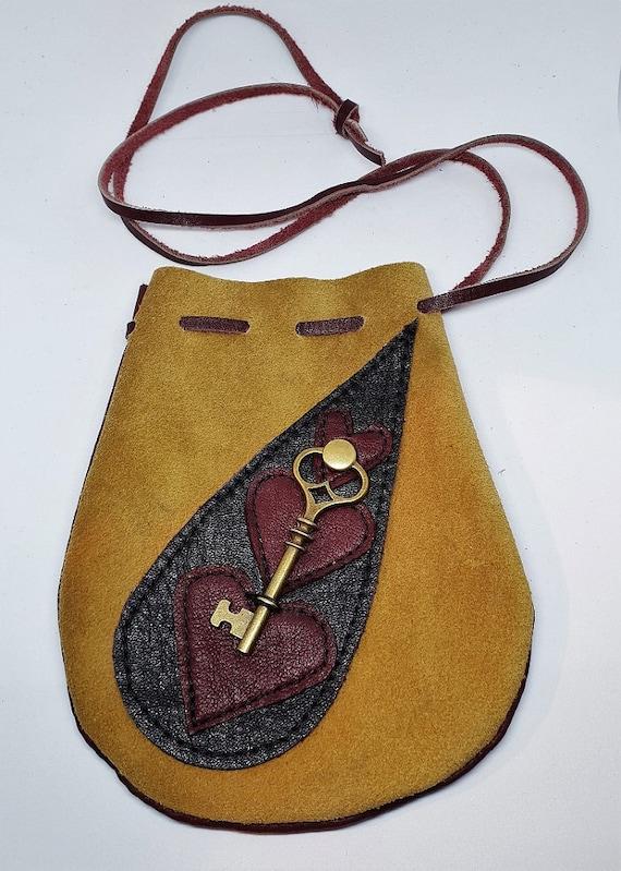 Sac pochette Amulette de cristal cadeau sac Talisman médecine sac pochette en cuir