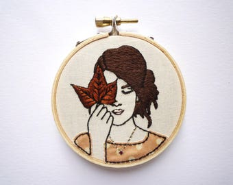 3inch Hoop Art 'Jackie' Modern Embroidery by Cheese Before Bedtime