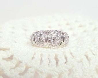 Sterling Silver  CZ  Dome Ring  Vintage
