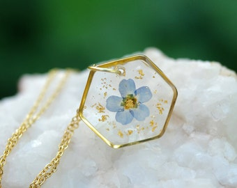 Forget Me Not Necklace, Pressed Flower Jewelry, Real Flower Necklace, Resin Flower Necklace, 24K Gold leaf, Gold Filled, Gift for loss