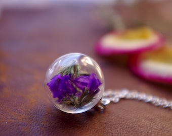 Real Flower Necklace Purple Flowers Nature Inspired Dried Flower Orb Terrarium Jewelry Botanical Necklace Gift For Her