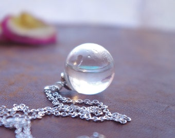 Water Necklace Water Drop Necklace Rain Drop Pendant Sterling Silver Nature Jewelry Glitter Snow Globe Necklace Romantic Gifts For Her