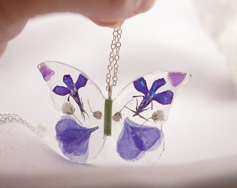 Blue Butterfly Necklace - Real Flower Jewelry - Butterfly Pendant - Blue Jewelry Gift for Women and Girls