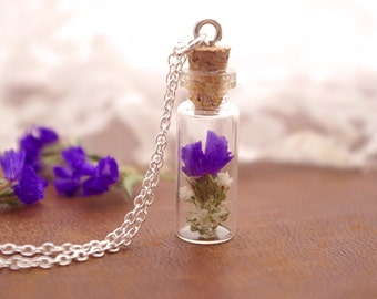 Real Flower Necklace, Purple Flower Necklace, Terrarium Necklace, Glass Bottle Necklace, Nature Gifts For Women, Purple Jewelry Women Gift