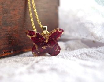 Real Rose Necklace, Red Rose Necklace, Gold Butterfly Necklace, Romantic Gifts for Her, Anniversary Gift, Valentine Gift, Forever Rose