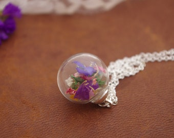 Real Flower Necklace Wildflower Pendant Colorful Flower Jewelry Nature Necklace Dried Flower Orb Necklace Gift For Her