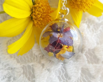 Real flower necklace, botanical jewelry, natural flower necklace, romantic gift for her