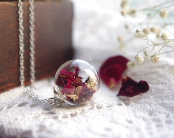 Real Rose Necklace Red Rose Jewelry Enchanted Rose Necklace Flower Jewelry Terrarium Jewelry Romantic Gifts For Her