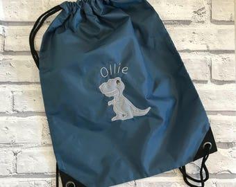 Dinosaur personalised pump bag. Swimming bag. PE bag. Nursery bag. dancing bag.