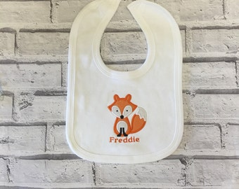 Personalised baby bib.  Personalised fox bib. Baby bib. Newborn gift. Baby Shower gift