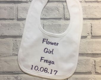 Flower girl baby personalised bib. Personalised bridesmaid favour. Baby flower girl bib. Wedding favour bib. Personalised bib.