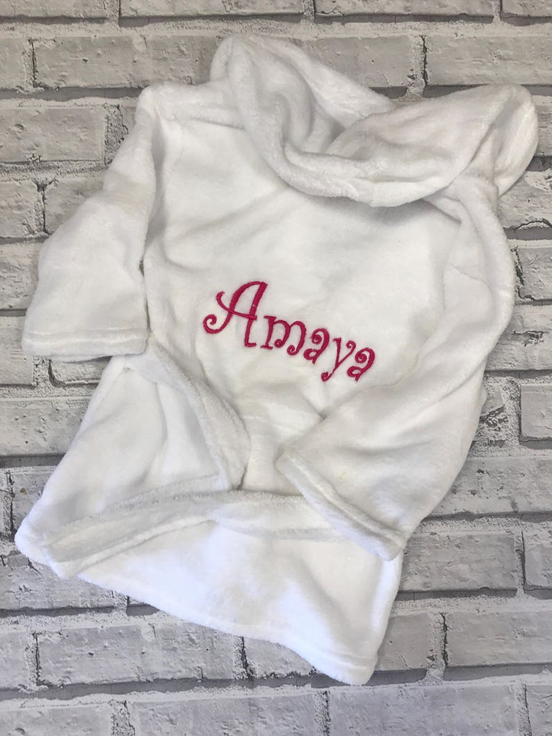 Personalised Baby Bathrobe. Baby dressing gown. White baby  a875e8b85