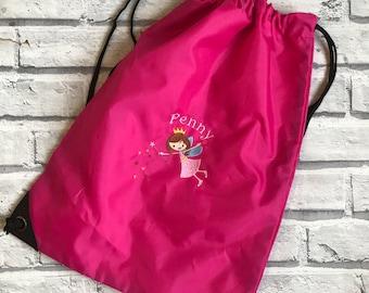 Fairy personalised pump bag. Swimming bag. PE bag. Nursery bag. dancing bag.