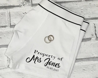 Mens personalised underwear. Personalised property of boxers. Husband boxers. Mens briefs, wedding day boxer. Property of Mrs boxers. Humour