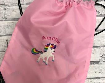 Unicorn personalised pump bag. Swimming bag. PE bag. Sport bags