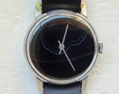 GEMSTONE Watch - Black Agate Watch, Soviet watch , Russian watch, Vintage Watch ,Mens watch, Watch Men, boyfriends watch quot Victory quot