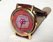 Agate Watch, Womens watch, Marble Watch, Mens watch ,Red watch