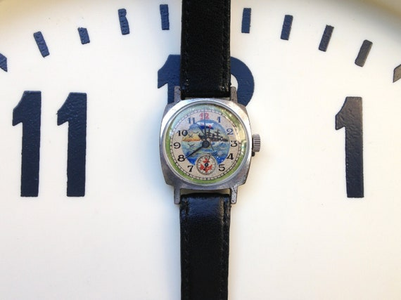 "Soviet watch - ""Pobeda"" ,Painted by hand watch"