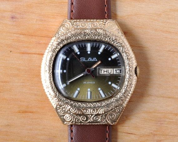 "Soviet watch ""Slava"", Engraved watch, Mens Watch,"