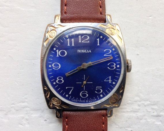 """Soviet watch """"Pobeda"""", Engraved watch, Mens Watch,"""