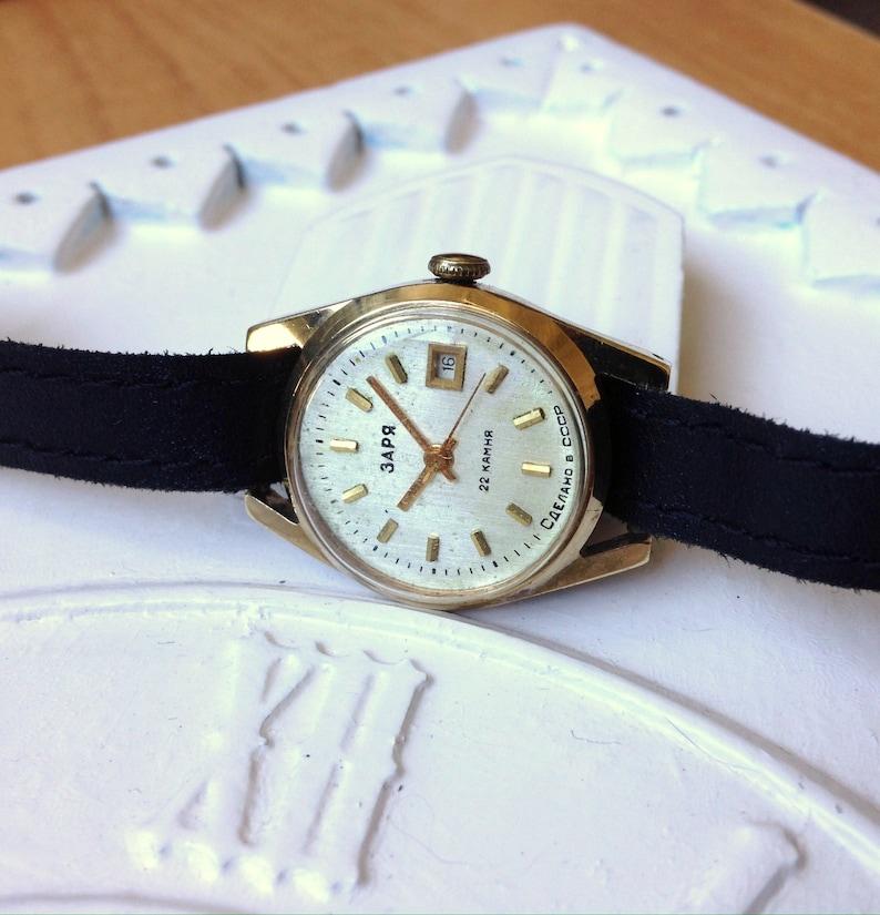 Montre soviétique « Zaria », russe montre, montre Vintage, montre femmes, montre mécanique, montre en plaqué or
