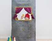 "Waldorf style, wool felt doorway puppet theater ""Caribbean dream"" Puppet show stage/ Pretend play/ Kids party decorations/ Felt puppets"
